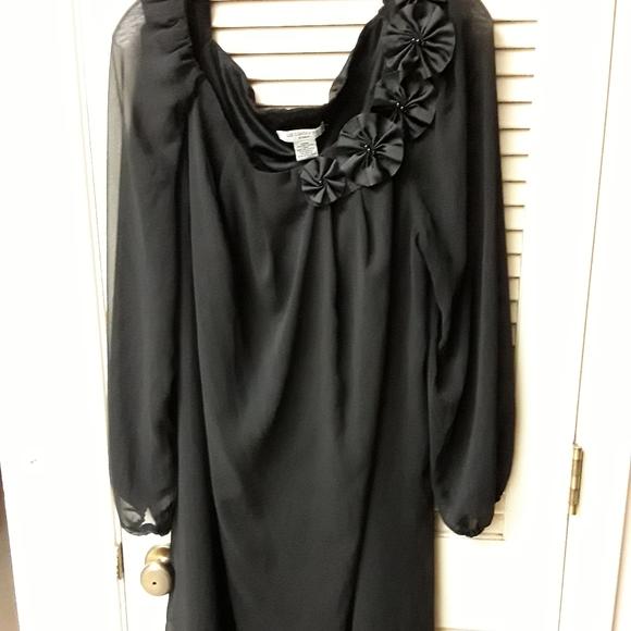 Liz Claiborne Dresses & Skirts - Black Formal Flowy Sleeve Floral Plus Dress 20W
